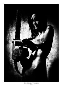 Fine Art Nude Photographer Vienna - Nude Woman Covered In Blood With Chainsaw