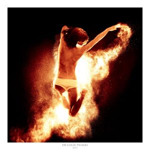 Fine Art Nude Photographer Vienna - Jumping Nude Dancer Jumping Through Fire
