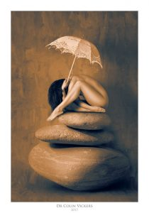 Fine Art Nude Photographer Vienna - Abstract Nude of Woman Sat On Rock With Umbrella in Painterly Style
