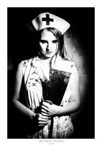 Fine Art Nude Photographer Vienna - Nurse With Butchers Knife and Covered In Blood