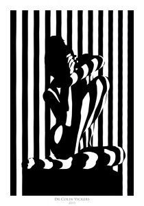Fine Art Nude Photographer Vienna - Nude Model In Abstract Pose With Abstract Stripes