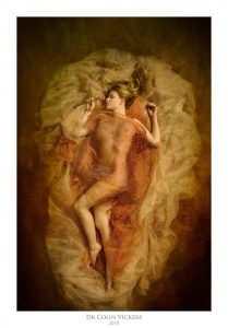 Fine Art Nude Photographer Vienna - Artistic Nude Woman In Yellow Fabric with Rose
