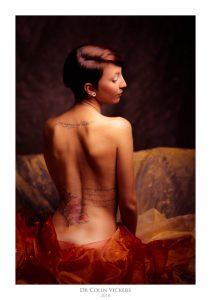 Fine Art Nude Photographer Vienna - Artistic Tattooed Nude Woman In Red Fabric