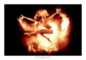 Fine Art Nude Photographer Vienna - Jumping Nude Dancer Playing With Fire