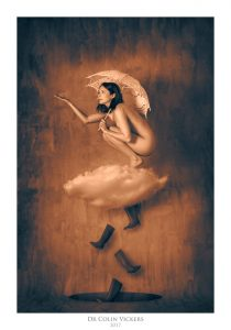 Fine Art Nude Photographer Vienna - Abstract Nude of Woman Sat On Cloud With Umbrella in Painterly Style