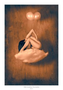 Fine Art Nude Photographer Vienna - Abstract Nude of Woman Sat On Cloud With Balloons in Painterly Style