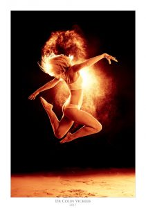Fine Art Nude Photographer Vienna - Model Jumping With Fire